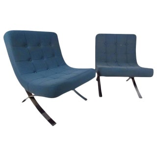 Mid-Century Italian Chrome-Based Lounge Chairs - a Pair