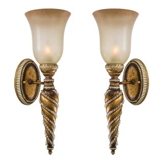 Gold Beaded Sconces - A Pair