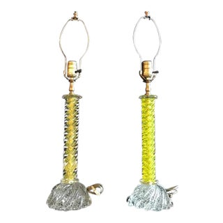 Murano Glass Lemon Twist and Clear Table Lamps - a Pair
