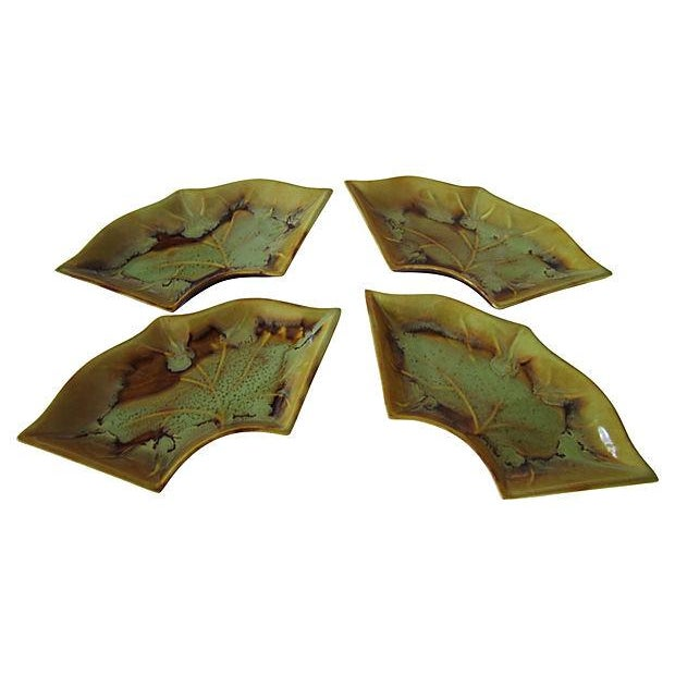 Image of Drip Glazed Leaf Bowls - S/4