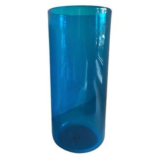 Mid-Century Cylindrical Blue Glass Vase