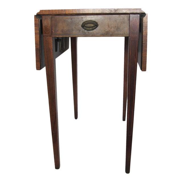 Vintage Heirloom Weiman Drop Leaf Side Table With Leather