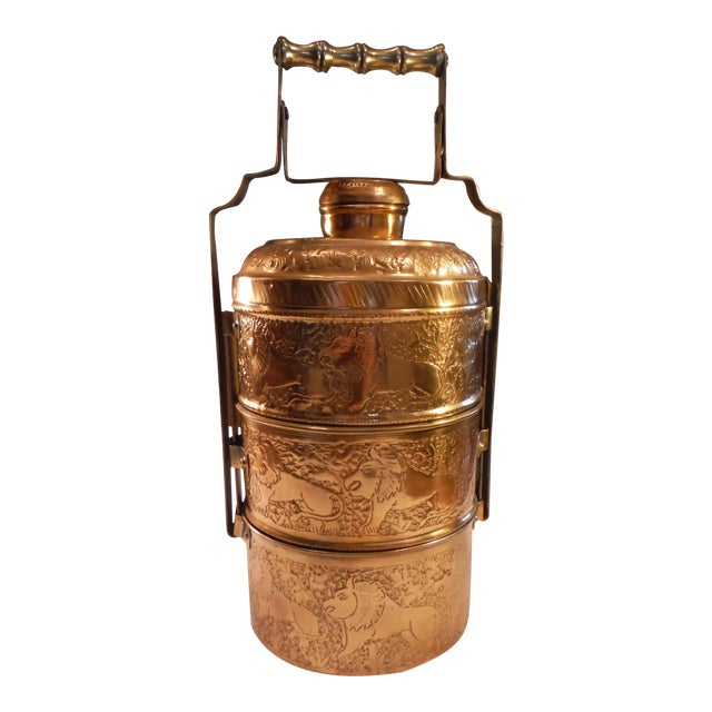 """Vintage Copper Clad """"Tiffin"""" or """"Dabba"""" - Image 1 of 9"""