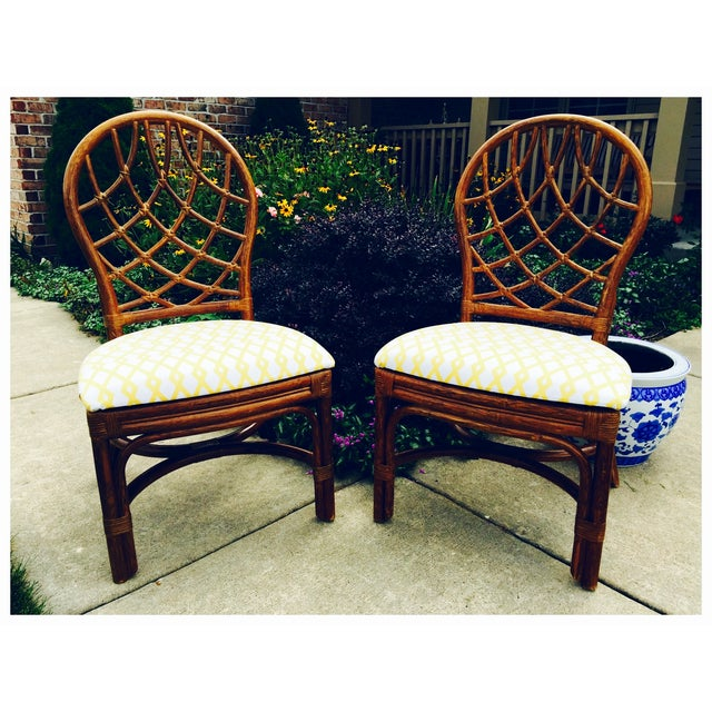 Vintage Lane Reupholstered Rattan Chairs - A Pair - Image 7 of 8