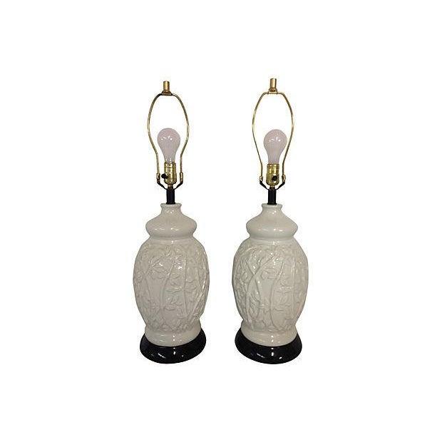 1960s Faux-Bamboo Ceramic Lamps - Pair - Image 1 of 5