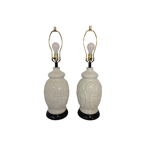Image of 1960s Faux-Bamboo Ceramic Lamps - Pair