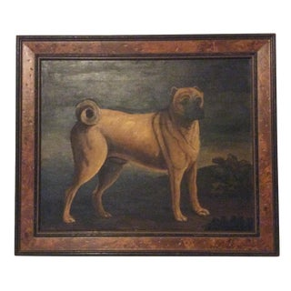 Antique Oil Painting of Shar Pei Dog in a Later Frame