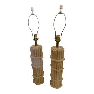 Vintage Faux Bamboo Ceralon Lamps - A Pair