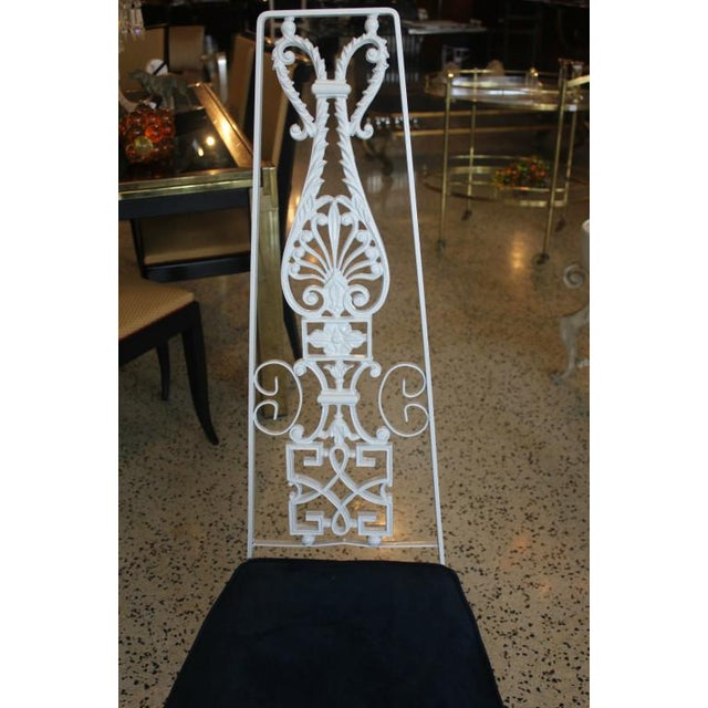 French Art Deco White Lacquered Iron Dining Chairs - Set of 6 - Image 3 of 10
