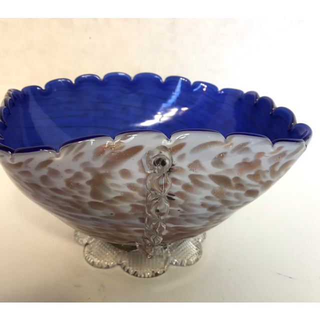 Blue & Gold Blown Glass Bowl - Image 6 of 8