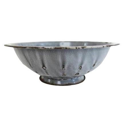 Vintage Graniteware Gray Speckled Large Enamel Colander Strainer - Image 1 of 3