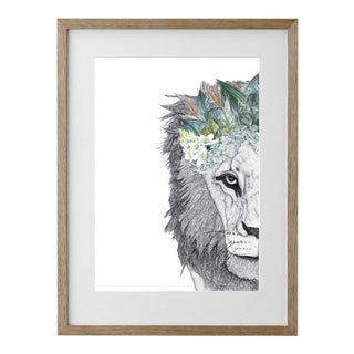 """Pointillism Print """"Leo the Lion With Foliage Crown"""""""