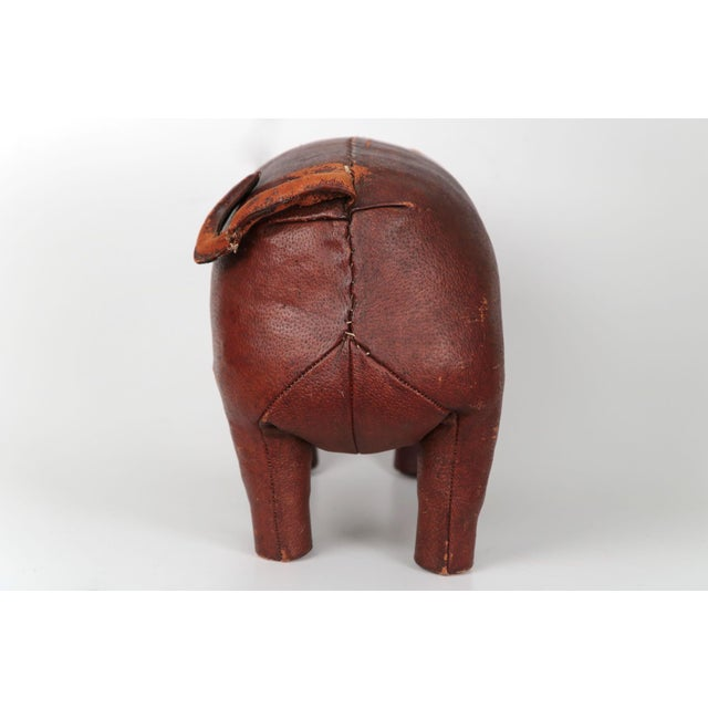 1960s Vintage Stitched Leather Pig Footstool by Dimitri Omersa for Abercrombie & Fitch - Image 6 of 11
