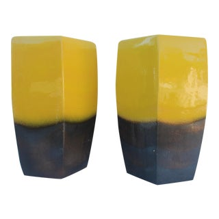 Vintage Yellow Ceramic Garden Stools - A Pair
