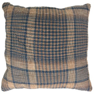 "Plaid Vintage Kantha Pillow 16"""