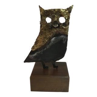 Vintage Brutalist Owl Statue on Wooden Stand