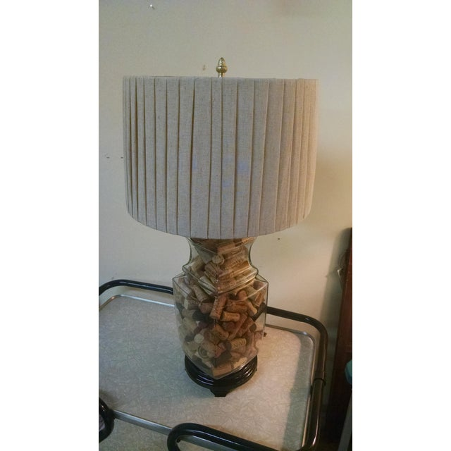 Vintage wine cork filled table lamp chairish for Wine cork lampshade