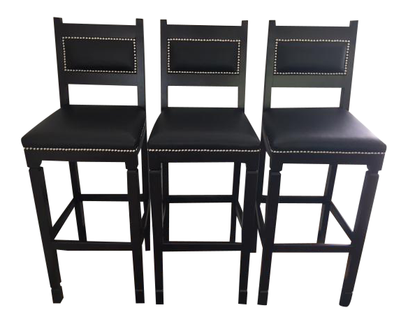 Black Leather Amp Wood Bar Stools With Nailheads Set Of 3