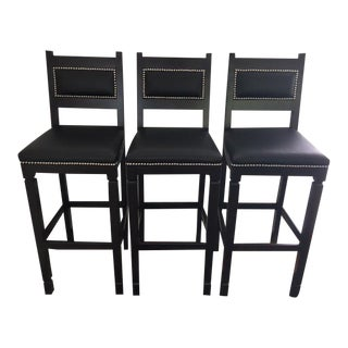 Black Leather & Wood Bar Stools with Nailheads - Set of 3