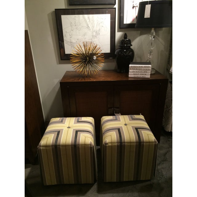 Image of Pair of Upholstered Striped Cube Ottomans