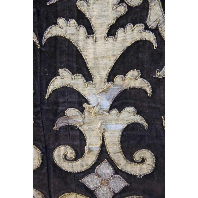 19th Century Metallic Appliqued Velvet With Fringe - Image 6 of 8