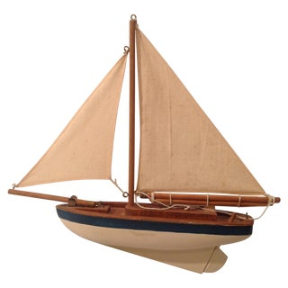 Canvas Sail & Wood Boat Model