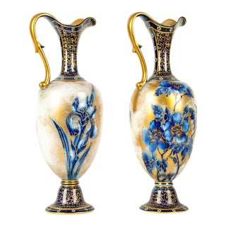 English Porcelain Decorative Vases - A Pair