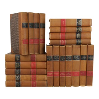 Art Deco Leather-Bound Books - Set of 20