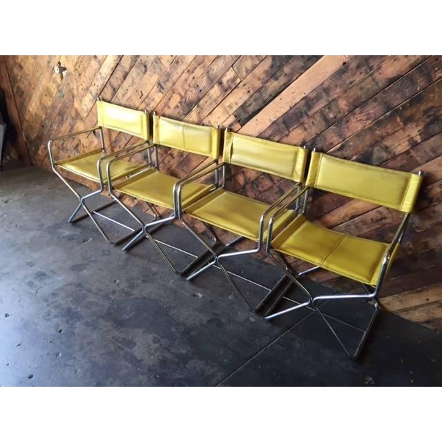 1970's Chrome Yellow Vinyl Directors Chairs - 4 - Image 3 of 6