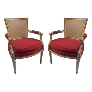 Louis XVI Caned Back Armchairs - A Pair