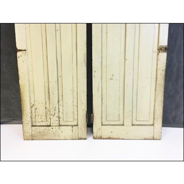 Vintage Rustic Yellow Milk Painted Cabinet Doors - A Pair - Image 6 of 11