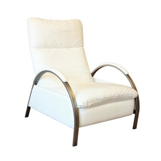 George Mulhauser for DIA Modern Chrome and White Leather Reclining Lounge Chair