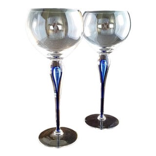 Orrefors Blue Drip Stem Wine Glasses - A Pair