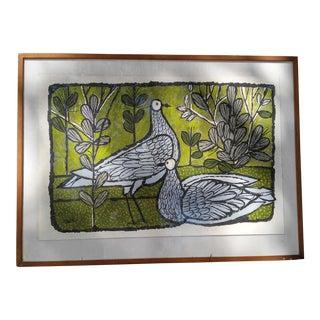 Mid-Century Pigeons Gouache
