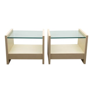Karl Springer Glasstop Night Tables - A Pair