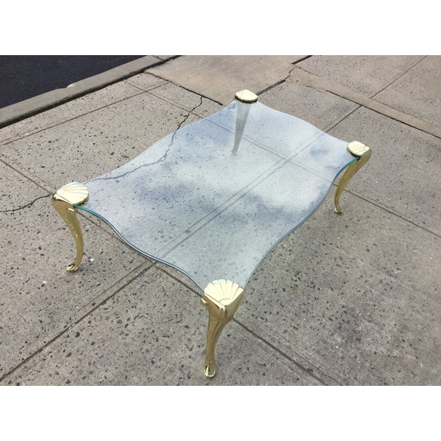Modern French Coffee Table: 1960's Modern French Style Brass Coffee Table