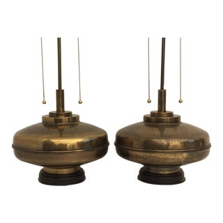 Pair of Giant Brass Lamps in Antiqued Bronze Finish