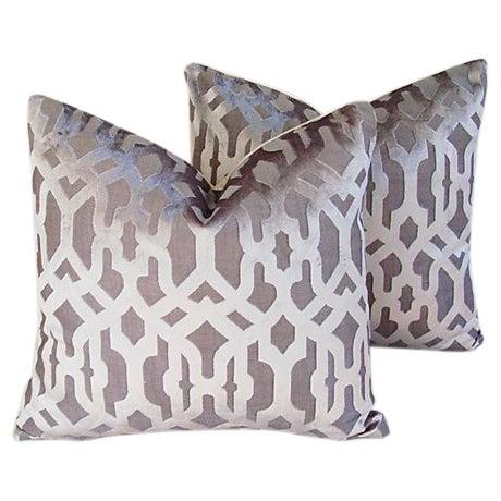 Designer Gray Geometric Trellis Pillows - A Pair - Image 1 of 8