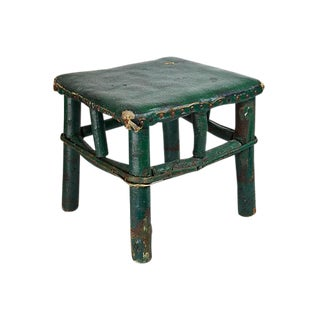 Adirondack Twig & Leather Footstool