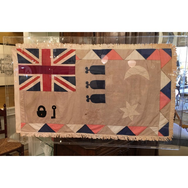 Antique British Colony Flag in Lucite Frame - Image 4 of 7