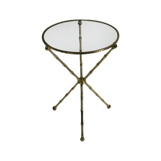 1960's French Brass Bamboo Tripod Gueridon Table