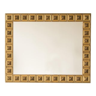 Vintage Italian Square Medallion Giltwood Mirror circa 1920 (48 1/2″w x 39 1/2″h)