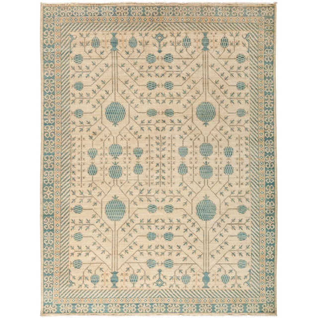 """New Hand-Knotted Khotan Rug - 5'4"""" X 6'10"""" - Image 1 of 3"""