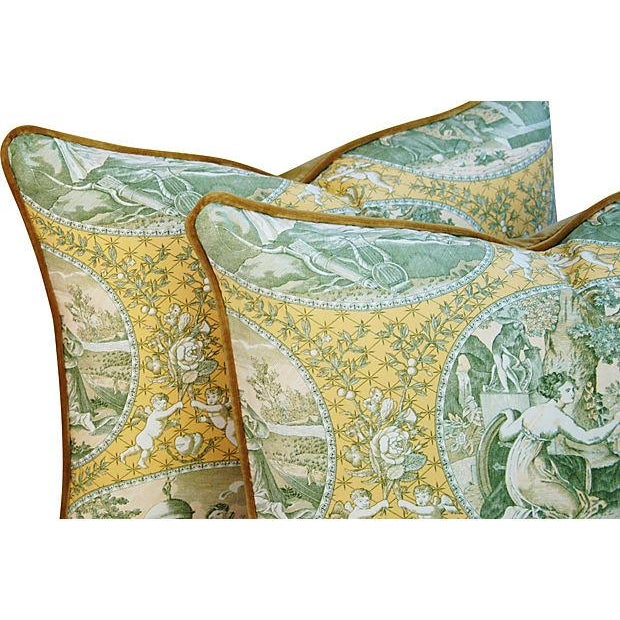 Italian Scalamandre Cupido Toile Pillows - A Pair - Image 5 of 6