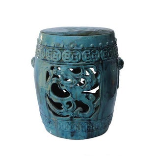 Chinese Blue Green Dragon Garden Clay Stool Table