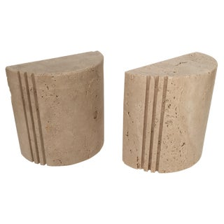 Mid-Century Italian Travertine Bookends