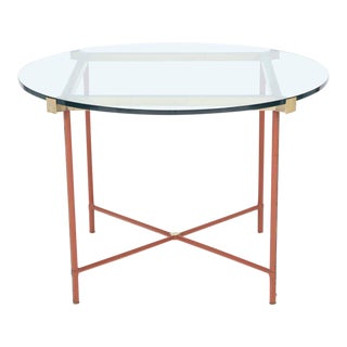 Jacques Adnet Leather Covered and Brass Centre Table
