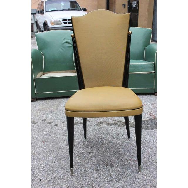 French Art Deco Ebonized Walnut Chairs - Set of 6 - Image 3 of 7