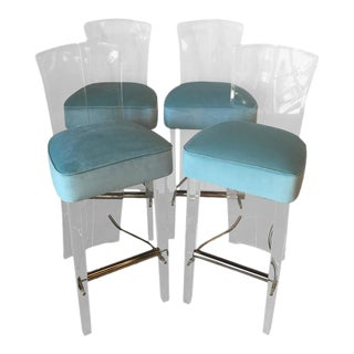 Charles Hollis Jones by Hill Lucite & Brass Barstools Bar Stools - Set of 4