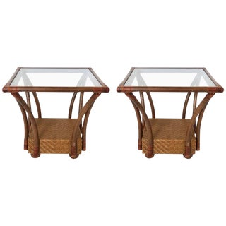 Pair of McGuire Style Square Woven Rattan and Bamboo Side Tables